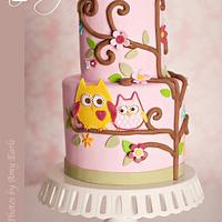 Baby Girl Owl Cake