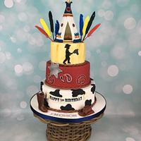 Cowboy and Indian teepee 1st birthday cake