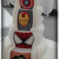 Super Hero Reveal Wedding Cake