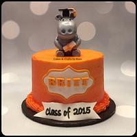Hippo Graduation Cake