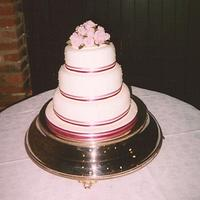 Simple ribbon and roses wedding cake by Iced Images Cakes (Karen Ker)