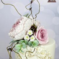 Antique Rose Wafer paper wedding cake