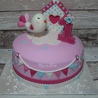 little bird 1st birthday cake