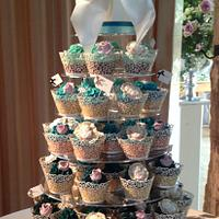 Ombre cupcake tower