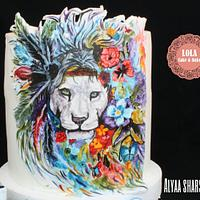 Freehand painting cake