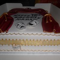 theatre tragedy masks birthday cake by elizabeth