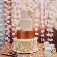 Blush pink, ivory and rose gold wedding cake