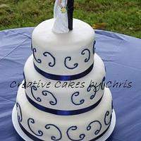 Fondant and blue scrolls