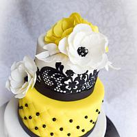 Black Lace with fantasy sugar flowers