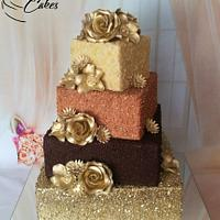 Chocolate golden wedding cake