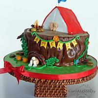 "Camping ""tent"" cake"