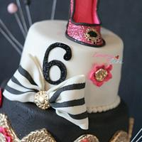 pink chanel cake with shoe