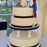 Elegant Wedding cake for a painter & decorator and his beautician bride  by Sugar Sweet Cakes