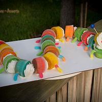 Rainbow Worm Cupcakes =)