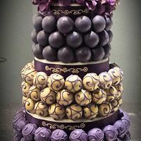 70th Gold and Purple Cake Bite Cake