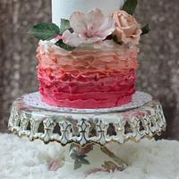 Pink and peach ombre ruffle cake