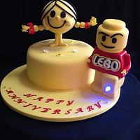 Little Miss Sunshine & Lego man cake