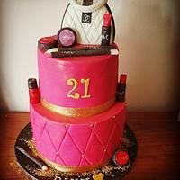21st makeup cake