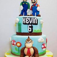 Mario Bros. and Donkey Kong Birthday Cake