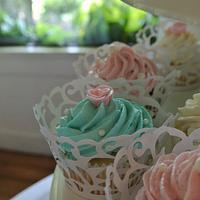 Turquoise Wedding Cupcake Tower by Amanda