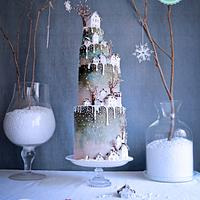 """Welcome home"" winter wedding cake COVER of CI Magazine."