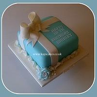60th Birthday Tiffany Blue Parcel Cake