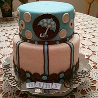 Baby Boy Umbrella Shower Cake