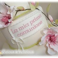 Magnolia first communion cake by Sara Solimes Party solutions