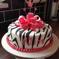Zebra print bow cake