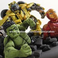 Super heroes figures. Bumblebee, ironman and the hulk