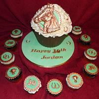 Horse Giant Cupcake with Matching Cupcakes