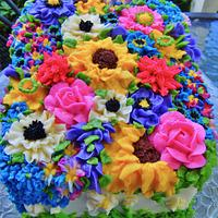Vibrant summer garden cake