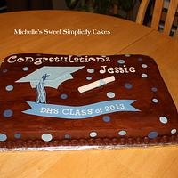 Brown and Blue Graduation Cake