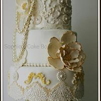 Cream, Ivory & Gold Baroque by Sophia's Cake Boutique