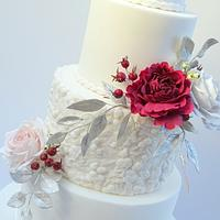 Rosehips and Roses Wedding Cake