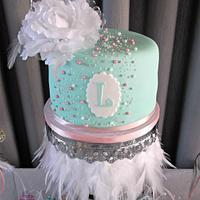 Mint green colored cake