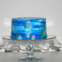 Hand painted water color effect on cake with Cream cheese frosting!!