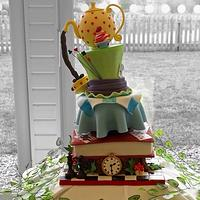 Mad hatters tea party wedding cake