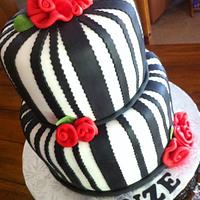 Black & White Stripes with Ribbon Roses