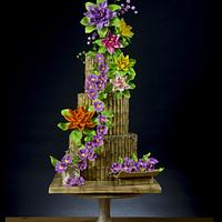 Bamboo and Flowers Cake - Vesak Festival