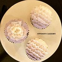 Purple Ruffle Cupcakes by SwoonCakery
