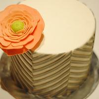 Grey and pink offset chevron cake