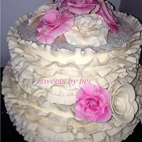 Messy Ruffle wedding cake