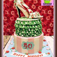 Cath Kidston themed cake with high heel shoe topper