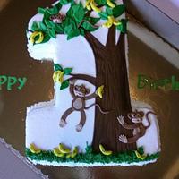 Remarkable 1St Birthday Monkey Themed Cake Cake By Jeana Byrd Cakesdecor Personalised Birthday Cards Xaembasilily Jamesorg
