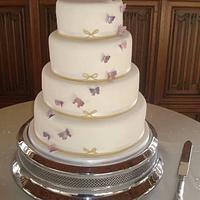 Simple butterflies wedding cake