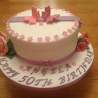 50th Roses & Butterfly hatbox cake