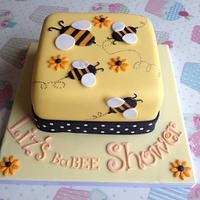 Bumblebee themed baby shower cake