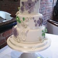 Buttons and gingham wedding cake by Celebration Cakes by Celeste