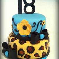 Leopard and Turquoise Birthday Cake